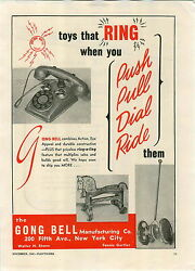 1946 Paper Ad Gong Bell Manufacturing Co Toy Telephone Pull Push Toys Ride