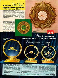 1957 Paper Ad 2 Sided Haddon See Thru Mystery Dial Clock Golden Vision Visionett