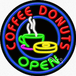 """Brand New """"coffee Donuts Open 26x26x3 Real Neon Sign W/custom Options 11315"""