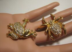TWO FABULOUS SIGNED SWAROVSKI CLEAR CRYSTAL BROOCHES SPIDER & FROG