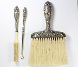 Antique 1800and039s Brushes And Button Hook Floral Pattern
