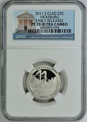 2011-s Vicksburg Clad Proof Quarter 25c Early Releases Ngc Pf70 Ultra Cameo