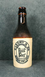 Old Stoneware C. Leary And Co. Advertising Root Beer Bottle Newbury Port, Mass.