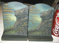 Antique Bradley And Hubbard Nh Usa Man Of Mountain Cast Iron History Art Bookends