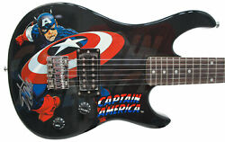 Stan Lee Signed Peavey Marvel Captain America 3/4 Electric Guitar And Certificate