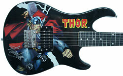 Stan Lee Signed Peavey Marvel Thor 3/4 Size Electric Guitar And Certificate