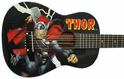 Stan Lee Signed Peavey Marvel Thor 1/2 Size Acoustic Guitar And Certificate