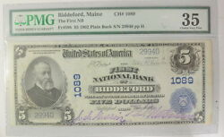 1902 5 Us National Currency Biddeford Maine Consecutive Pmg Certified Vf35