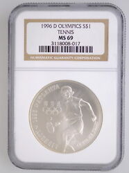 1996 D Ngc Ms 69 United States Olympics Tennis Comm Silver 1 Coin