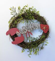 Grapevine Wreath Wooden Lobster Sign Greenery Florida Room Vacation Condo Decor