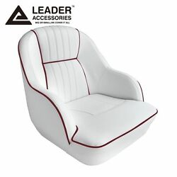 Leader Accessories Deluxe Bucket Boat Seat White/dark Red Piping