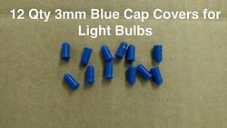 12 qty BLUE 3mm light bulb Color Caps Covers,  climate radio switch auto car