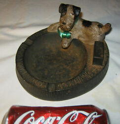ANTIQUE HUBLEY USA TOY TERRIER DOG CAST IRON ART ASHTRAY BOWL STATUE TRAY HOLDER