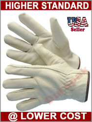 24 Pairs Natural Cow Grain Leather Driver Driving Gloves Smxxl Glove Comfort