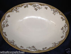 Royal Doulton Lynnewood Oval Vegetable Bowl 9 1/2 Brown And Green Leaves Band