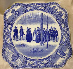 Crown Ducal Colonial Times Going To Church Square Luncheon Plate 8 3/8 Blue