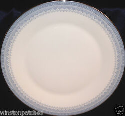 Royal Doulton H5033 Lorraine Dinner Plate 10 5/8 Blue Dots, Flowers And Scrolls