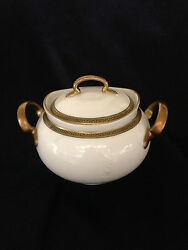 Hutschenreuther Louise Sugar Bowl And Lid Black Greek Key Trim W Gold Bands Selb