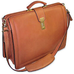 Jack Georges Belting Classic Leather Lawyers Business Case Shoulder Strap Tan