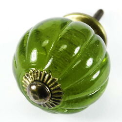 Green Glass Cabinet Knobs, Antique Hardware And Kitchen Cabinet Handles K150