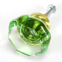 Cabinet Knobs Green, Drawer Handles And Brass Vintage Glass Pulls T63