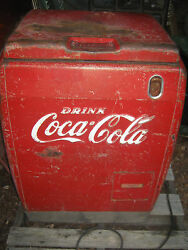Antique Coca Cola Soda Stainless Steel Store Art Sign Machine Bottle Cooler Usa