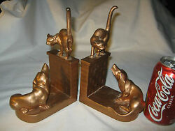 Antique Jb Jennings Brothers Cat And Dog Wall Art Statue Sculpture Metal Bookends
