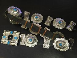 Very Rare Collectible Navajo Benson Yazzie Easter Blue Turquoise 925 Concho Belt