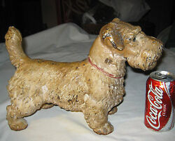 ANTIQUE HUBLEY TOY CO. USA HUGE SIZE SEALYHAM TERRIER CAST IRON STATUE DOORSTOP