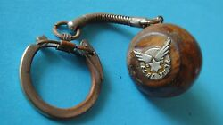 Rare Vintage Israel Airlines El - Al Advertising Olive Wood Keychain And Compass