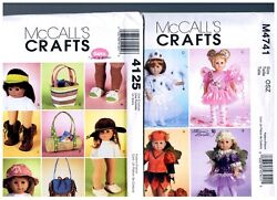2 Mccalls Oop Patterns 4125 And M4741 Doll Clothes Fits 18 American Girl
