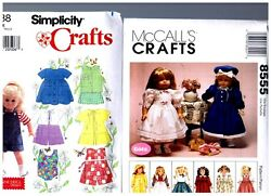 Mccalls And Simplicity Patterns 7688 And 8555 Doll Clothes Fits 18 American Girl