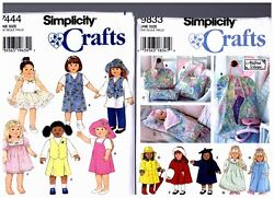 2 Simplicity Oop Patterns 7444 And 9833 Doll Dress Clothes Fits 18 American Girl