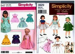 2 Simplicity Oop Patterns 3547 And 3929 Doll Dress Clothes Fits 18 American Girl