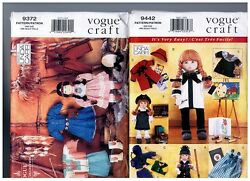 Vogue 9372 And 9442 Patterns Doll Clothes Coats Native American 18 American Girl