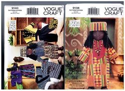 Vogue 9138 And 9140 Patterns Doll Clothes Ethnic African 18 American Girl
