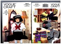 Vogue 8647 And 9140 Patterns Doll Clothes Sailor Dress And Ethnic 18 American Girl