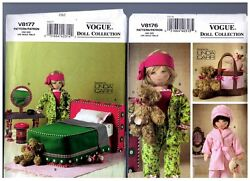 Vogue V8177 Bedroom And V8176 Clothes Accessories Patterns Doll 18 American Girl