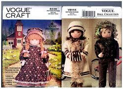 Vogue 8336 And V8144 Patterns Doll Clothes Coat Boots Hat Dress 18 American Girl