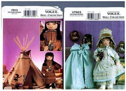 Vogue 7813 And V7923 Patterns Doll Clothes And Native American 18 American Girl