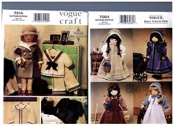 Vogue 7514 And 7564 Patterns Doll 1930s Clothes Prairie Dress 18 American Girl