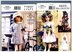 Vogue 7461 Heirloom And 7513 Doll Clothes Patterns Dresses 18 American Girl