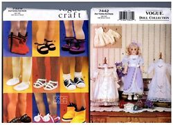 Vogue 7442 Heirloom Dress Clothes And 7329 Doll Shoes Patterns 18 American Girl