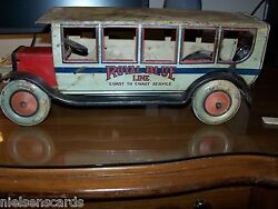 1927 Chein 550 Royal Blue Line Pullman Bus Tin Rare As Is For Restoration