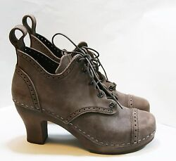Swedish Hasbeens Shoes 1910 Lace Up Clog Booties Brown Nubuck Leather 36 389
