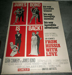 From Russia With Love Original 1964 Large Rolled 40x60 Movie Poster James Bond