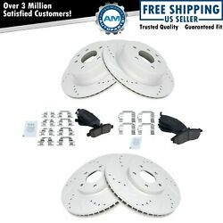 Front Rear Slotted Drilled Brake Rotors Ceramic Brake Pads Fits Infiniti Nissan