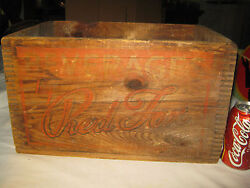 Antique Red Fox Beverage Art Advertising Wood Bottle Crate Ri Sign Box Carrier