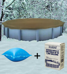 18and039 Round Above Ground Winter Pool Cover + 4and039x4andrsquo Air Pillow + Winterizing Kit
