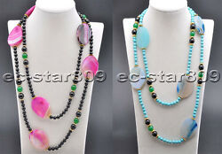 X0493 Blue And Red Ellipse Agate Turquoise Jade Agate Necklace 50inch